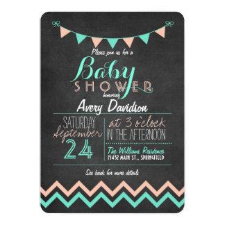 Peach and Mint Bunting Flag Chalkboard Baby Shower 13 Cm X 18 Cm Invitation Card