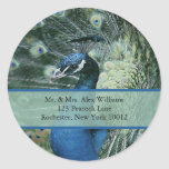 Peacock Address or Save the Date Labels Round Sticker