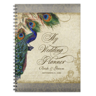 Peacock & Feather Formal Wedding Planner Journal Spiral Note Book