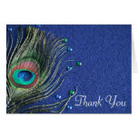 Peacock Feather Jewels Blue Thank You Note Card