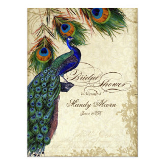 Peacock & Feathers Bridal Shower Tea Stained Card 17 Cm X 22 Cm Invitation Card