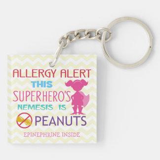 Peanut Allergy Alert Keychain Girl Superhero