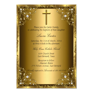 Pearl Damask & Cross Gold Baptism 13 Cm X 18 Cm Invitation Card