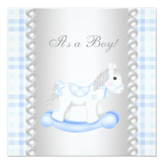 Pearls Blue Gingham Rocking Horse Baby Boy Shower 13 Cm X 13 Cm Square Invitation Card
