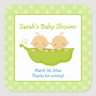 Peas in a Pod Twin Boys Square Favor Sticker
