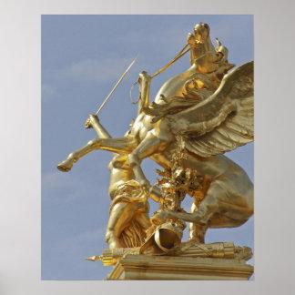 Pegasus statue at the Pont Alexander III bridge Poster
