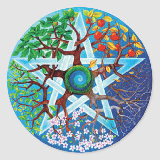 pentacle-seasons round sticker