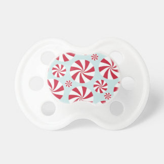 Peppermint Candy Red and Blue Holiday Baby Pacifiers