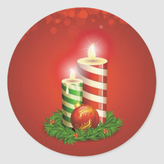 Peppermint Stripe Christmas Candles Sticker Pack
