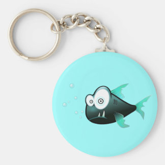 Percy the Piranha Fish Basic Round Button Key Ring