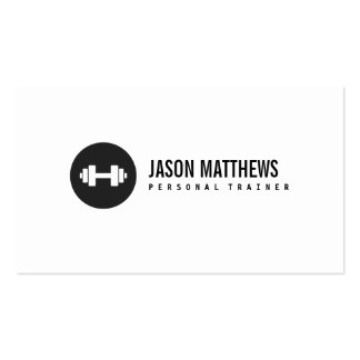 Personal Trainer White Dumbbell Logo Fitness Pack Of Standard Business Cards