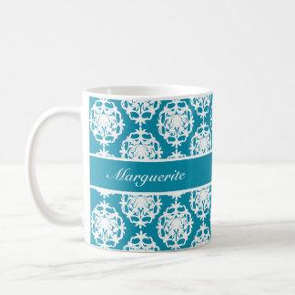 Personalised Bondi Blue with White Damask Basic White Mug