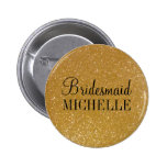 Personalised gold glitter bridesmaids buttons