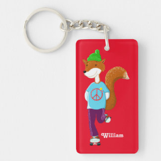 Personalised Happy Rollerskating Fox Double-Sided Rectangular Acrylic Key Ring