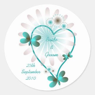 Personalised Wedding Envelope Seal/Sticker Heart Round Sticker