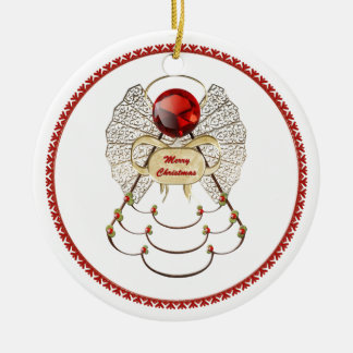 Personalize:  Red Filigree Merry Christmas Angel Round Ceramic Decoration