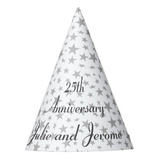 Personalized 25th Anniversary Silver Stars Party Hat
