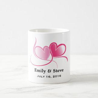 Personalized 2 Hearts Wedding Date Basic White Mug