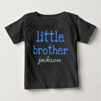 Personalized Add a Name Blue Text Little Brother Shirts