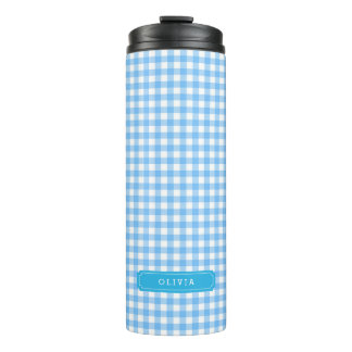 Personalized Baby Blue Gingham Monogram Thermal Tumbler