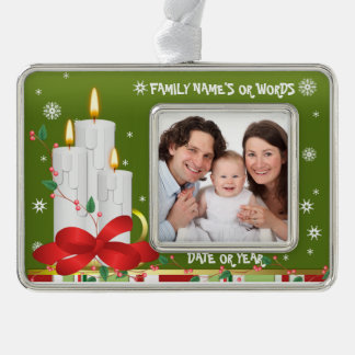 Personalized Baby's Christmas Photo Ornament Silver Plated Framed Ornament