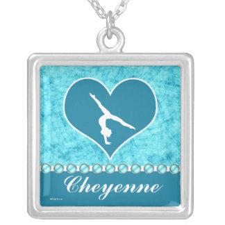 Personalized Beautiful Turquoise Gymnastics Square Pendant Necklace