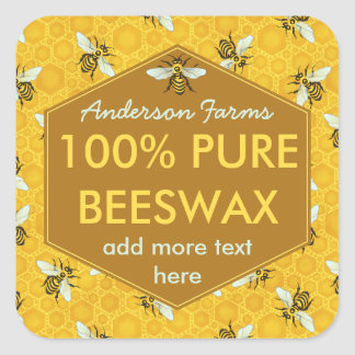 Personalized Beeswax Label Bees and Honeycomb Square Sticker
