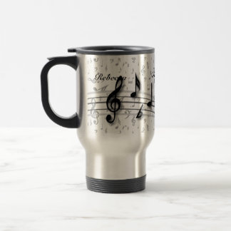 Personalized Black and Gray Musical Notes Stainless Steel Travel Mug