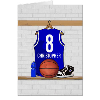 Personalized Blue and White Basketball Jersey Greeting Card