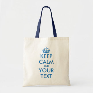 Personalized blue keep calm and your text tote bag