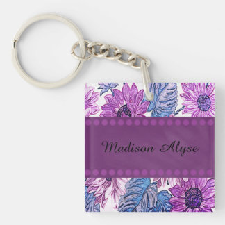 Personalized Contact Info Purple Floral Keychain
