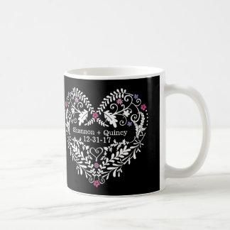 Personalized Filigree Heart, Wedding Date Names Basic White Mug