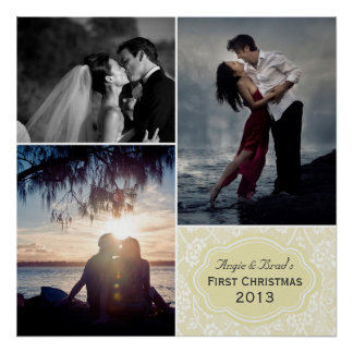 Personalized First Christmas Damask Photo Collage Poster