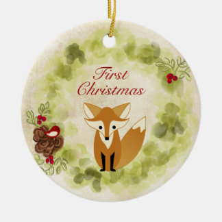 Personalized Fox and Wreath Baby's First Christmas Round Ceramic Decoration