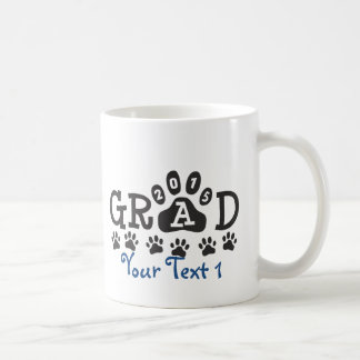 Personalized GRAD 2015 PAWS BLUE Graduation Basic White Mug