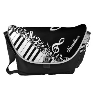 Personalized  Jumbled Musical Notes and Piano Keys Commuter Bag