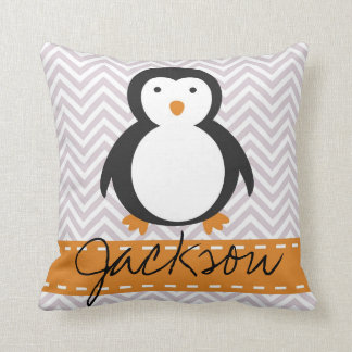 Personalized Kids Holiday Penguin Pillow Cushion