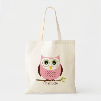 Personalized Kids Pink And Brown Owl Tote Bag