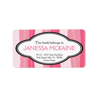 Personalized Ladies Pink Wavy Stripes Book Plate Address Label