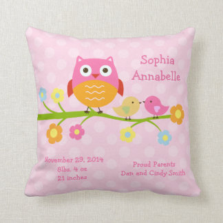 """Personalized """"Love Birds & Owl with dots"""" Pillow Cushion"""