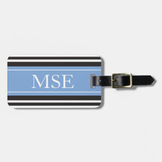 Personalized Monogram Light Blue Black Stripes Luggage Tags