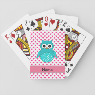 Personalized name cute owl pink hearts poker deck