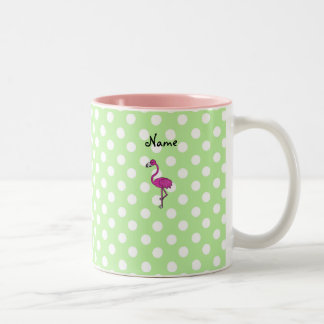Personalized name flamingo green polka dots Two-Tone mug