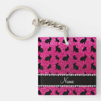 Personalized name neon hot pink glitter bunny Single-Sided square acrylic key ring