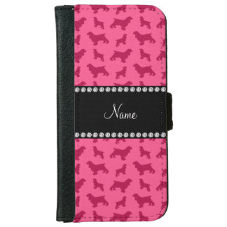 Personalized name pink cocker spaniel iPhone 6 wallet case