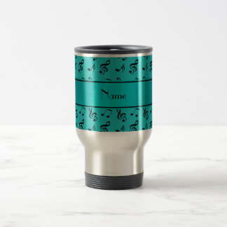 Personalized name turquoise music notes stainless steel travel mug