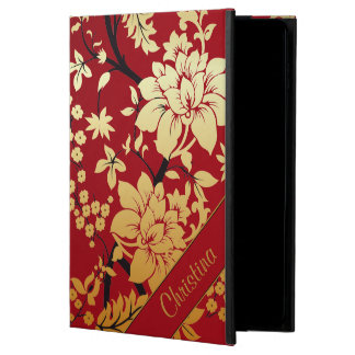 Personalized Oriental Golden Flowers on Red