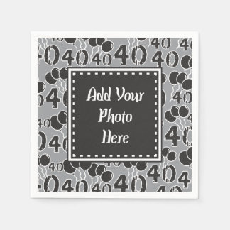 Personalized Photo 40th Birthday Party Paper Napkin