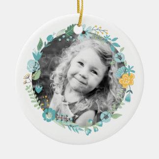 Personalized Photo Delicate Floral Wreath Round Ceramic Decoration