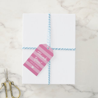 Personalized pink stripe wedding favor gift tags